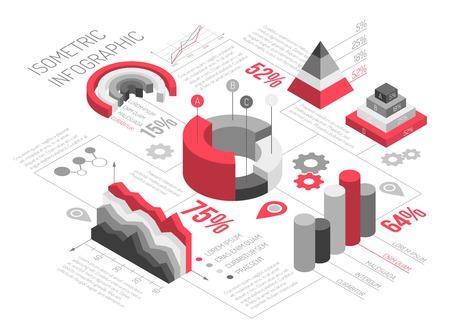 Infographics isometrico dei diagrammi in bianco e nero con gli oggetti geometrici solidi per i grafici e diagrammi con l'illustrazione di vettore del testo