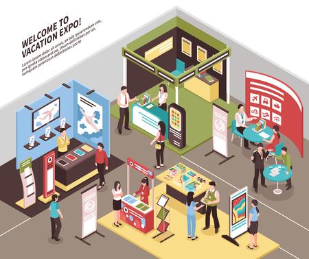 Exposición isométrica stand exposición ilustración con vista del área de exhibición con stand para diferentes agencias de viajes ilustración vectorial