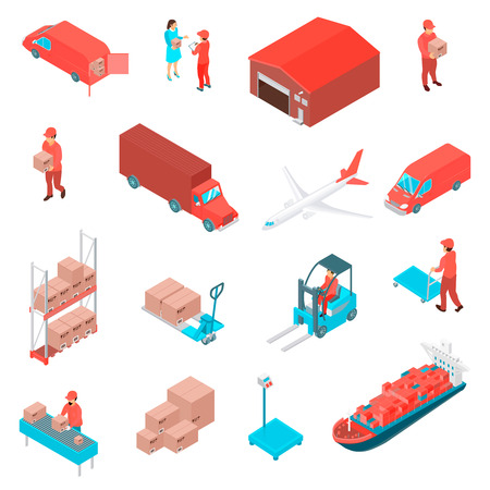 Logistic  and delivery isometric icons set with warehouse workers loader ship plane truck minivan goods boxes isolated vector illustration Illustration