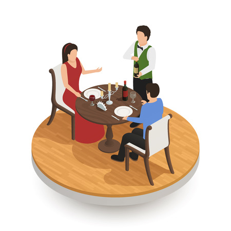 Waiter with bottle of vine and couple of young people tasting wine in restaurant isometric design concept vector illustration Illustration
