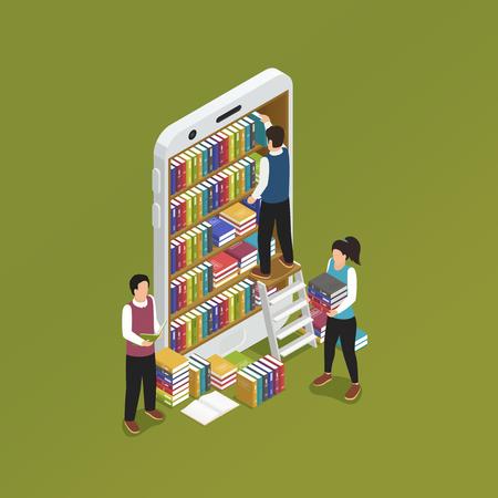 本棚のベクトル図を形成ライブラリ携帯電話画面でスマート フォン等尺性象徴的な組成を持つオンライン E ラーニング  イラスト・ベクター素材