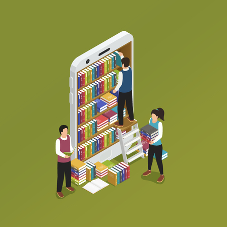 E-learning online with smartphone isometric symbolic composition with library mobile phone screen forming bookshelves vector illustration