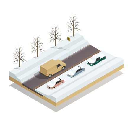 Winter road with riding pickup truck and cars parked at roadside under snow isometric composition vector illustration Illustration