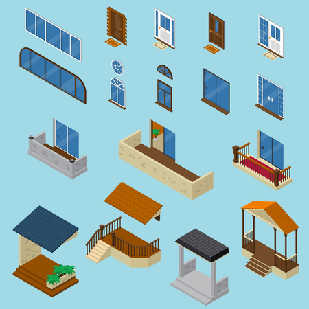 Isometric house constructor elements collection with isolated images of glossy windows doors balcony and stoop vector illustration Illustration