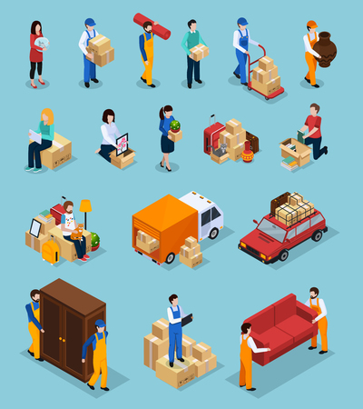 Relocation service isometric icons with clients and loaders, packages, furniture, vehicles isolated on blue background vector illustration Illustration