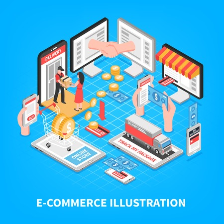 Electronic commerce isometric vector illustration with plastic card home delivery account page in smartphone screen elements