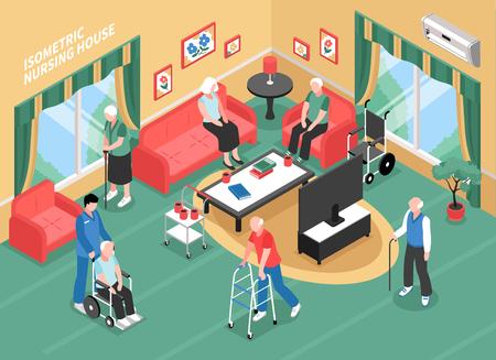 Intérieur de maison de retraite avec le personnel, les personnes âgées en fauteuil roulant, avec les marcheurs ou illustration vectorielle isométrique de la canne Vecteurs