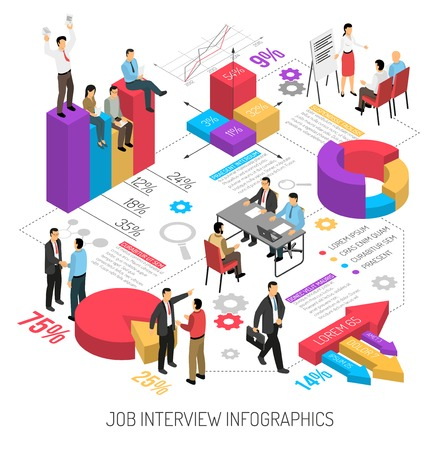 Job interview infographics with isometric images of colourful diagrams arrows editable text columns and human characters vector illustration