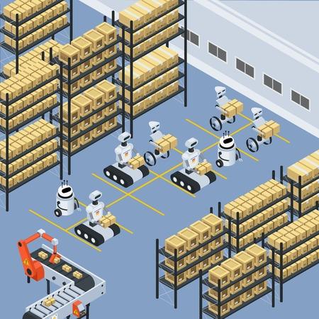 La composizione isometrica nella struttura di stoccaggio automatizzata del magazzino di logistica con i robot senza equipaggio che ordina lo spostamento e che posiziona i pacchi vector l'illustrazione Archivio Fotografico - 92101966