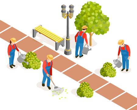 Gardener isometric composition with human figures of gardeners in hats and uniform watering municipal garden plants vector illustration