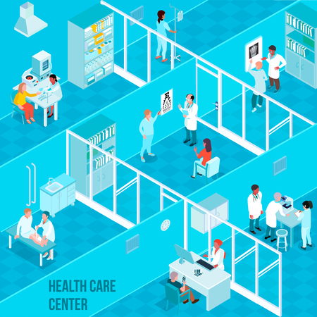 Health care center isometric vector illustration with doctors nurses and patients in clinic interior needing in medical help Illustration