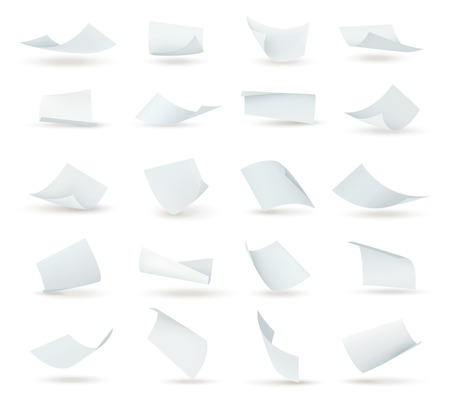 Realistic paper set of flying blank white sheets with curved corners isolated illustration.