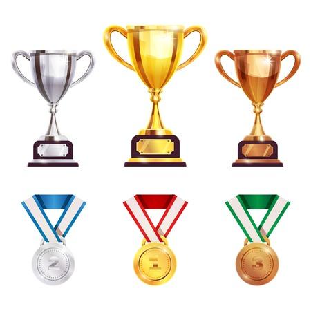 I vincitori dei giochi delle competizioni dei campionati assegnano i set di medaglie del trofeo. Archivio Fotografico - 92348394