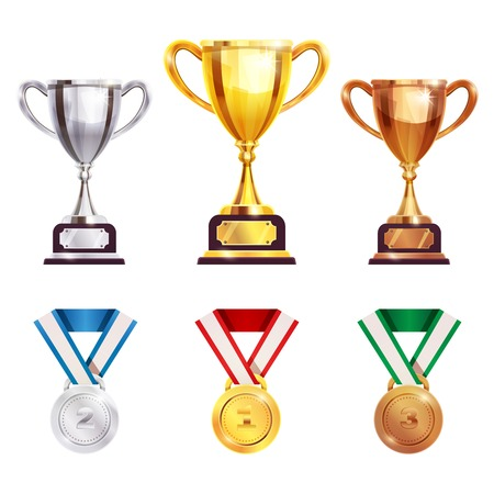Championships competitions games winners awards trophy medal sets.