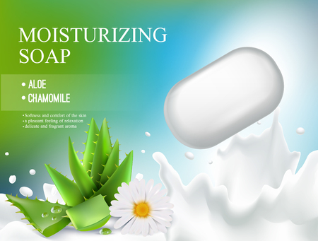 Colored soap realistic composition or flyer with moisturizing soap aloe chamomile headline vector illustration