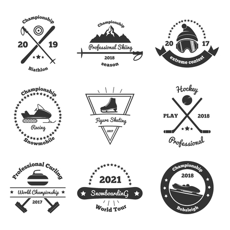 Winter sports emblems of competitions with skiing.