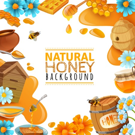 Honey cartoon colored frame with vector illustration Stok Fotoğraf - 92336161