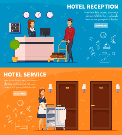 Hotel service horizontal banners with receptionist chambermaid and doorman characters cartoon vector illustration