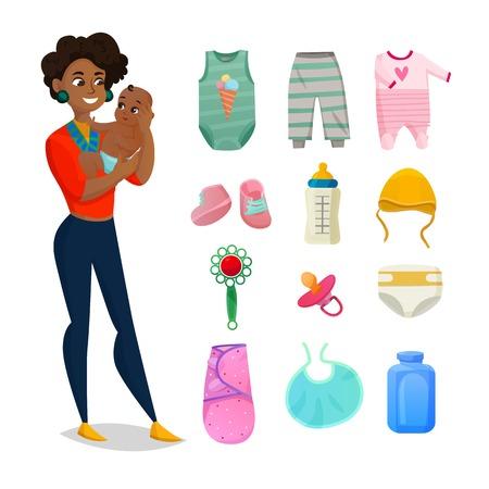 Roupas de bebê com botas e acessórios isolados plana vector illustration Ilustración de vector