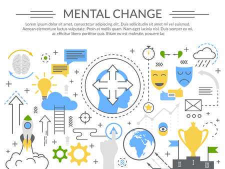 Il manifesto piano della composizione in simboli di concetto del cambiamento mentale con le maschere di umore delle scale del cervello e il trofeo del vincitore vector l'illustrazione