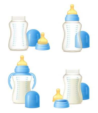 Durable baby milk bottles constructor 4 realistic compositions set with easy to hold grips isolated vector illustration Vectores