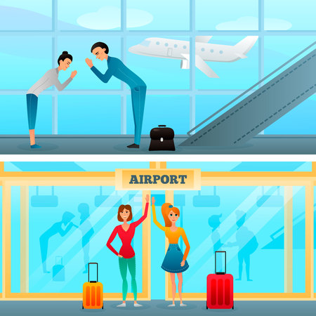 Characters with gestures during business meeting and greeting in airport compositions on window background isolated vector illustration