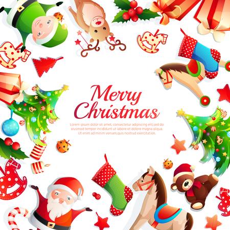 Merry christmas cartoon frame with greeting, xmas tree, santa, animals, holiday decorations on white background vector illustration Çizim