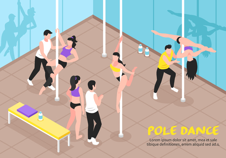 Pole dance training, scene with teachers and girls in various positions, interior elements isometric vector illustration Vettoriali