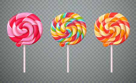Set of realistic spiral striped colorful lollipops on white plastic sticks isolated on transparent background vector illustration Çizim