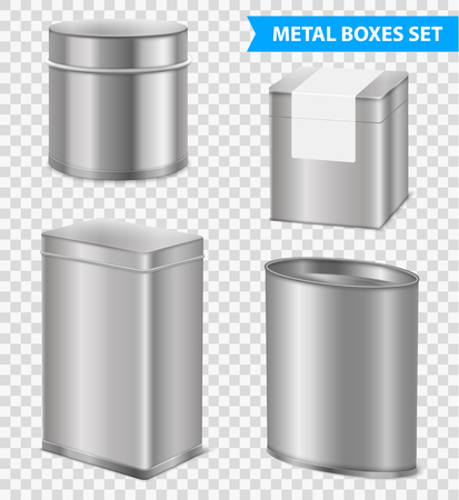 Tea packaging tins and metal boxes variously shaped 4 realistic images set on transparent background vector illustration  Çizim