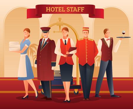Hôtel souriant composition dégradé plat personnel avec illustration vectorielle administrateur, porteur, serveur, portier et femme de chambre