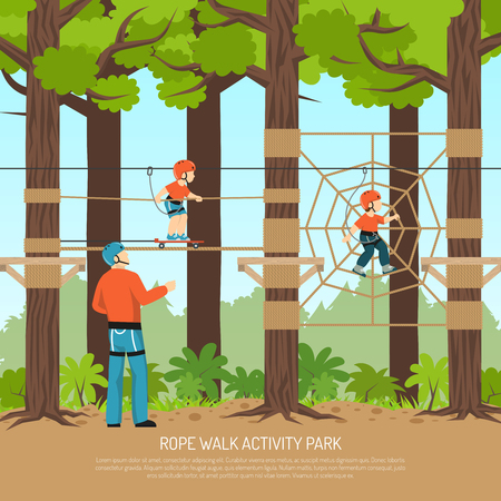 Rope walk activity children park composition with view of forest playground with children and adult couch vector illustration