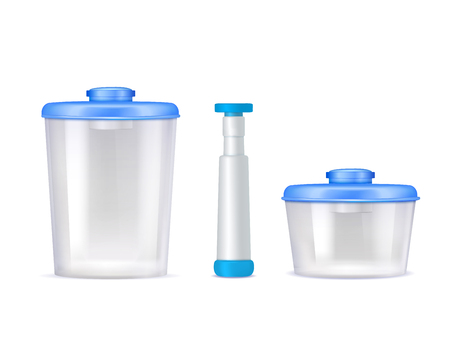 Colored isolated plastic vacuum food containers realistic icon set with blue covers vector illustration