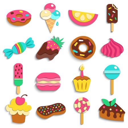 Partij van snoepjes behandelt de trendy kinderen vlakke kleurrijke pictogrammeninzameling met geïsoleerde de pictogrammenillustratie van het donutsroomijs suikergoed Vector Illustratie