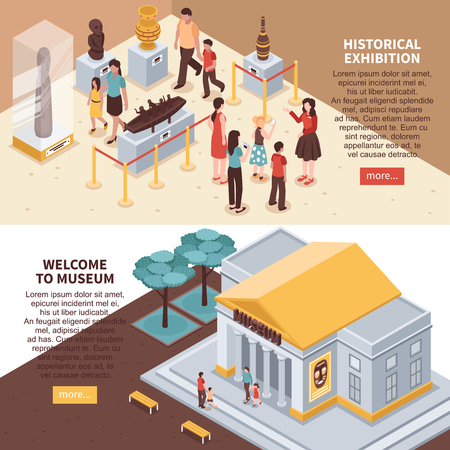 Historical exhibition horizontal isometric banners with museum building, showcases with exposition, excursion isolated vector illustration