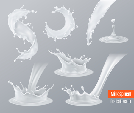 Set of realistic milk splashes of various shape with drops isolated on gray illustration.