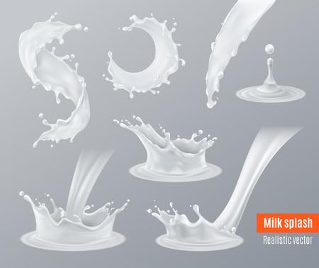 Zestaw realistycznych plam mleka o różnych kształtach z kroplami na szarym tle.