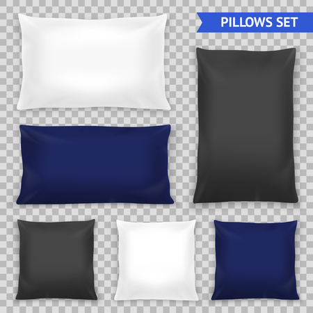 Realistic bedroom pillows various shapes and sizes set in white blue black top view illustration. Иллюстрация