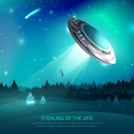 Alien spacecraft poster with flying saucer during kidnapping of person on night.