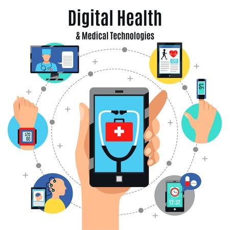 Solutions de soins de santé numérique avec affiches de composition plate de dispositifs électroniques avec illustration de apps médicales de téléphone à écran tactile mobile. Vecteurs