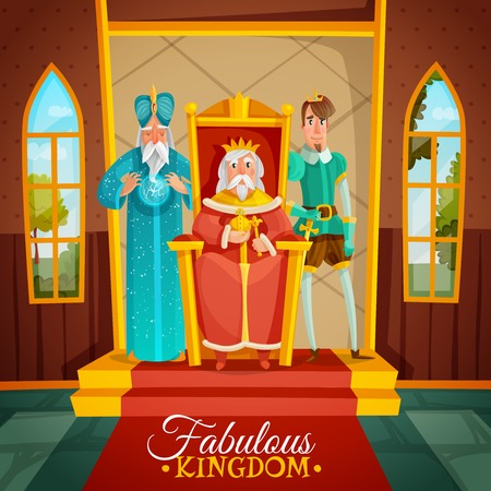 Fabulous kingdom colorful cartoon illustration with king sitting on throne wizard and prince figurines standing near monarch. 일러스트