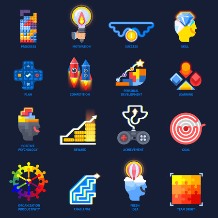 Game design elements concept in colorful flat icons collection, with personal development plan goal illustration. Illustration
