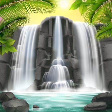 Realistyczny wodospad z ilustracją wody, skały, nieba i drzew.