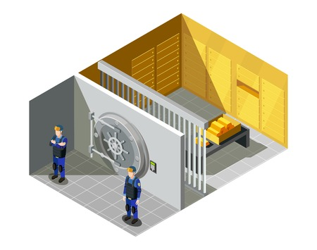 무장 된 경찰 장교에 의해 지키게되는 연방 은행 금고 보관소 보안 시스템 아이소 메트릭 컴포지션 벡터 일러스트 레이션 일러스트