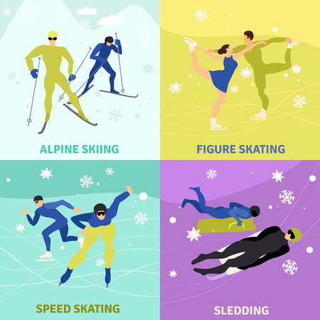 Winter sports design concept square icons flat vector illustration Çizim