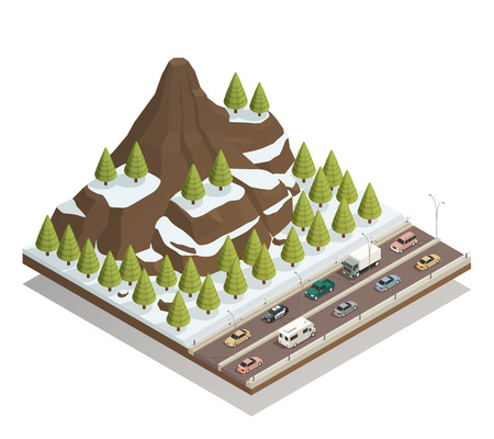 Winter snowy landscape isometric composition with rocky mountains, fir trees and busy motorway road