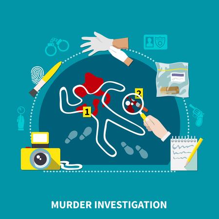 犯罪捜査解説と犯罪現場ベクトルイラスト付き色付き探偵フラット構成