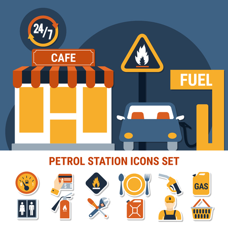 Fuel pump icon set with flat elements and petrol station combined in composition vector illustration Illustration