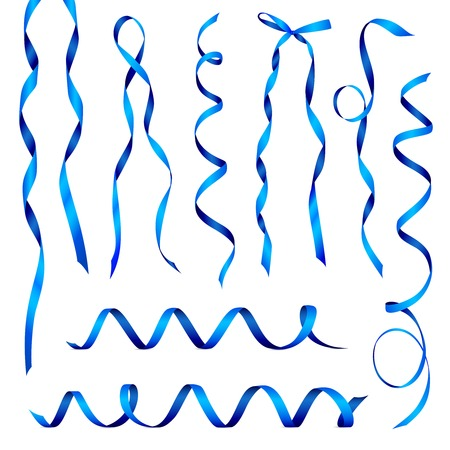 Set of realistic blue glossy ribbons curled in various positions isolated on white background vector illustration Ilustracja