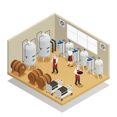 Wine production isometric composition with factory employees and equipment.